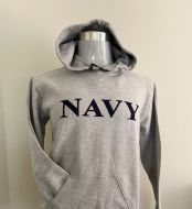 Grey Hoodie - Navy Print on Front